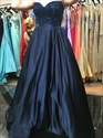 Navy Blue Strapless Beaded Bodice Floor Length Ball Gown Prom Dress