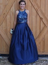 Navy Blue Two Piece Sequin Bodice Ball Gown Prom Dresses