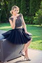 Black Two Piece Cap Sleeve Short Beaded Tulle Homecoming Dress