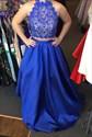 Royal Blue Two Piece Floor Length Lace Embellished Formal Dress