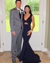 Navy Blue Floor Length Mermaid Evening Gown With Keyhole Front