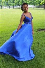 Royal Blue V Neck Embellished Top Sleeveless Long Prom Dress