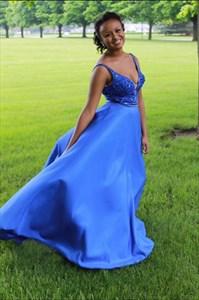Royal Blue V Neck Embellished Top Sleeveless Long Prom Dress