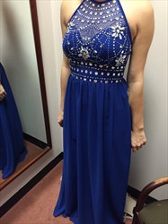 Royal Blue Halter Neck Backless Beaded Long Chiffon Prom Gown
