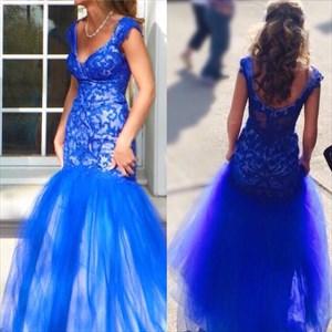 Royal Blue V Neck Backless Embellished Mermaid Long Prom Dress