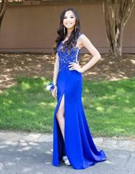 Royal Blue Embellished Sleeveless Sheer Back Prom Dress With Slit