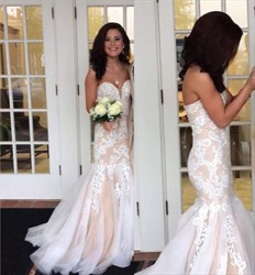 Champagne Strapless Lace Applique Mermaid Tulle Long Prom Dress