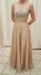 Champagne Strapless Sweetheart Beaded Long Chiffon Formal Dress