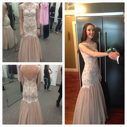 Pink Backless Sleeveless Lace Embellished Tulle Long Prom Dress