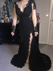 Black V Neck Sheer Long Sleeve Lace Prom Dress With Side Cutouts