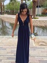 Navy Blue Lace Bodice Chiffon Skirt Backless Long Bridesmaid Dress