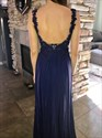Navy Blue Lace Bodice Chiffon Skirt Backless Long Bridesmaid Dress