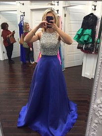 Royal Blue Sequin Top Floor Length Ball Gown Prom Dress