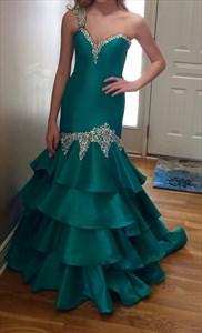 Teal One-Shoulder Sweetheart Beaded Floor Length Mermaid Prom Dress