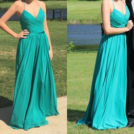Turquoise V Neck Spaghetti Strap A Line Long Chiffon Prom Dress
