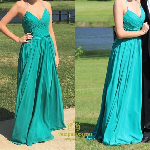 Turquoise V Neck Spaghetti Strap A Line Long Chiffon Prom Dress