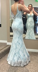 Light Blue Open Back V Neck Lace Mermaid Floor Length Prom Dress