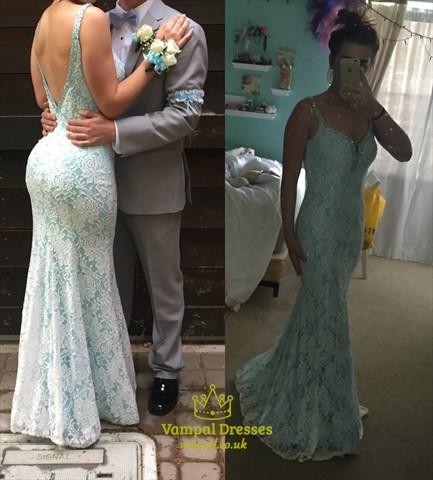 Light Blue Open Back V Neck Lace Mermaid Floor Length Prom Dress