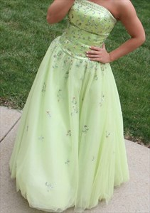 Mint Green Strapless Beaded Embellished Ball Gown Prom Dress