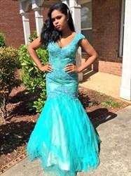 Aqua Blue V Neck Cap Sleeve Embellished Mermaid Formal Dress