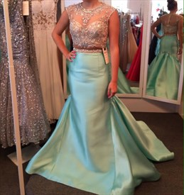 Blue Illusion Neckline Embellished Mermaid Long Prom Dress