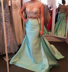 Blue Illusion Neckline Embellished Mermaid Long Prom Dress