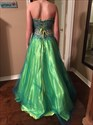 Green Strapless Sequin Embellished Tulle Ball Gown Prom Dress