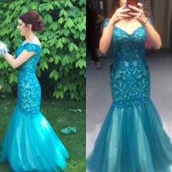 Teal V Neck Short Sleeve Lace Floor Length Mermaid Prom Gown