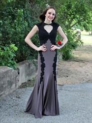 Grey High Neck Cap Sleeve Floor Length Embellished Sheer Back Dress