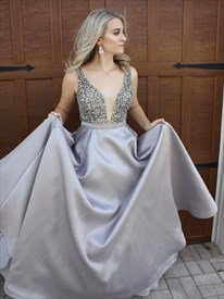 Grey Deep V Neck Backless Floor Length Sequin Embellished Prom Dress