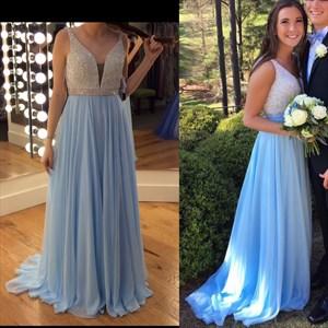 Blue Two Tone V Neck Embellished Top Chiffon Long Bridesmaid Dress