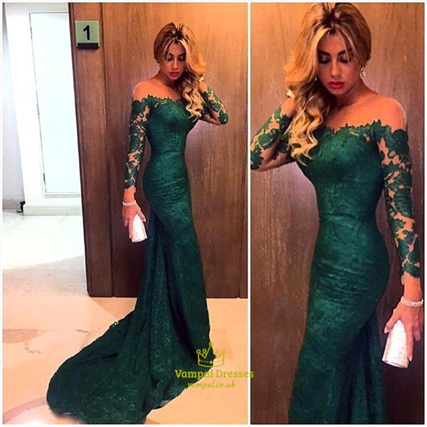 Emerald Green Off The Shoulder Sheer Sleeves Mermaid Lace Prom Dress