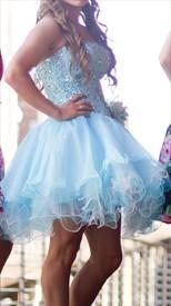 Blue Strapless Beaded Bodice Short Embellished Cocktail Dresses