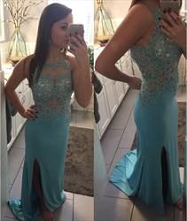 Blue Sheer Illusion Neckline Backless Sheath Prom Dress With Slit