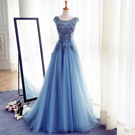 Blue Cap Sleeve Lace Applique Floor Length Tulle Long Prom Dress