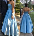Blue Simple Strapless Sleeveless Floor Length Ball Gown Prom Dresses