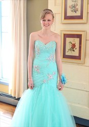 Turquoise Strapless Lace Beaded Embellished Mermaid Tulle Prom Dress