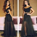 Black Off The Shoulder Two Piece Lace Top Tulle Prom Dress