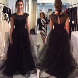 Black Beaded Bodice Cap Sleeve Tulle Floor Length Prom Dress