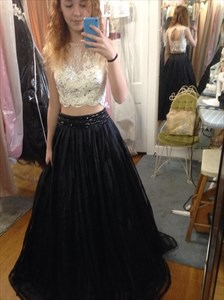 Black Two Piece Lace Bodice Ball Gown Floor Length Prom Dresses