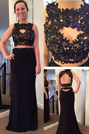 Black Two Piece Backless Lace Embellished Bodice Long Prom Dress