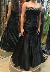 Black Strapless Ruched Long Beaded Top Mermaid Prom Dress