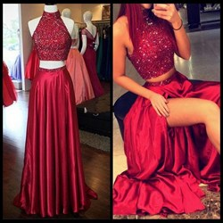 Burgundy Two Piece High Neck Beaded Bodice Prom Dress With Slits