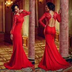 Red Backless Lace Long Sleeve Floor Length Mermaid Prom Dress
