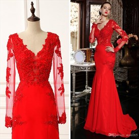 Red Sheer Lace Long Sleeve Mermaid Floor Length Prom Dress