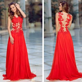Red Lace Applique Bodice Chiffon A-Line Long Prom Dress