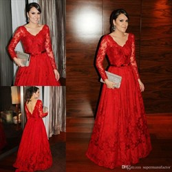 Red Lace V Neck Open Back Long Sleeve Full Length Formal Dress