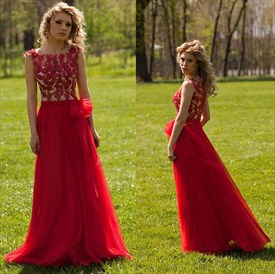 Red Sheer Lace Applique Bodice Long Floor Length Prom Dress