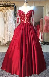 Red Sheer Lace Applique Long Sleeve Full Length Ball Gown Prom Dress
