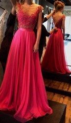 Hot Pink Lace Top Backless Embellished Floor Length Prom Dress
